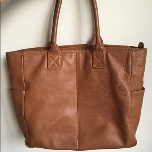 YL Genuine Leather Brown Handbag